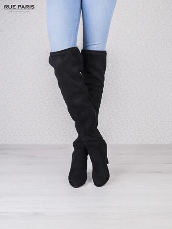 Czarne zamszowe kozaki faux suede na szpilkach wiązane w kolanach