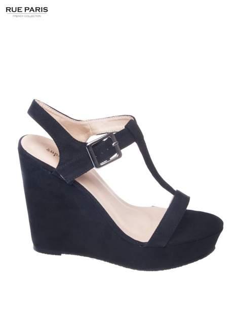 Czarne zamszowe sandały t-bary na koturnie                                  zdj.                                  1