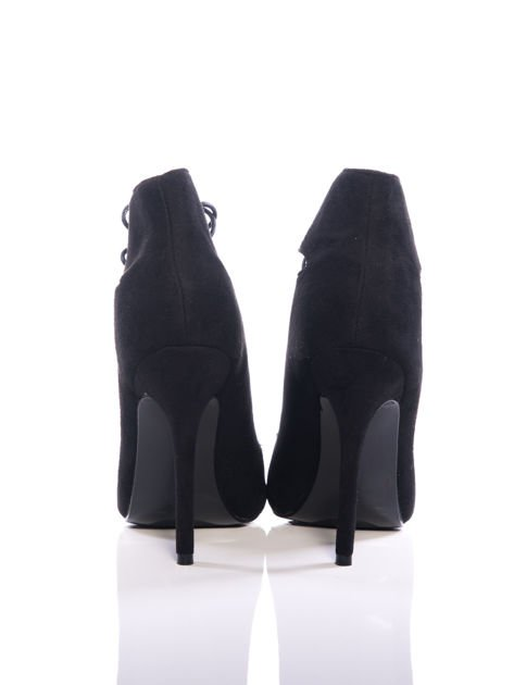 Czarne zamszowe sznurowane botki faux suede Isolde cut out lace up                                  zdj.                                  3