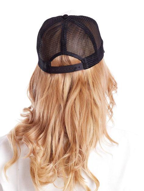 Czarno-biała czapka z daszkiem z siatkową wstawką                              zdj.                              3