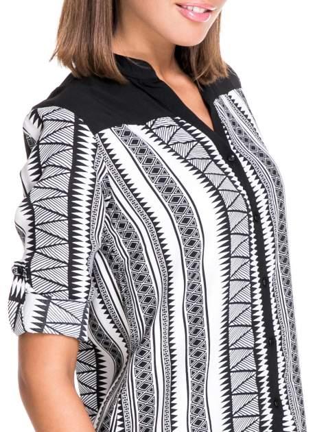Czarno-biała koszula w geometryczne wzory                                  zdj.                                  7