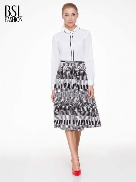 Czarno-biała spódnica midi w geometryczny wzór II                                  zdj.                                  2