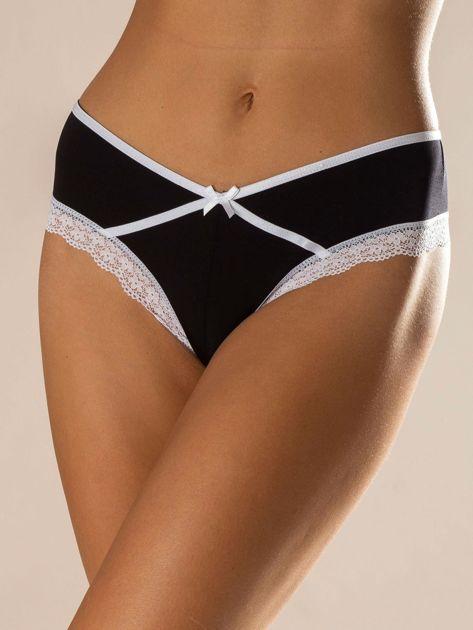 Czarno-białe majtki z koronką