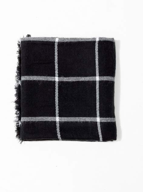 Czarno-biały szalik damski w kratę                                  zdj.                                  6