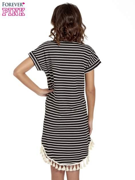 Czarno-ecru sukienka w paski z chwostami                                  zdj.                                  4