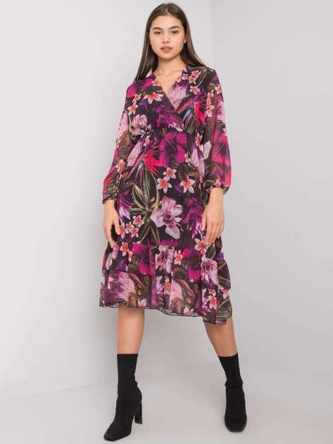 Czarno-fioletowa sukienka w kwiaty Canton