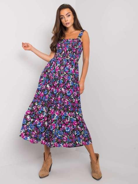 Czarno-fioletowa sukienka z printami Mariella RUE PARIS