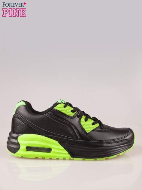 Czarno-limonkowe buty sportowe faux leather Power Up z poduszką powietrzną w podeszwie                                  zdj.                                  1