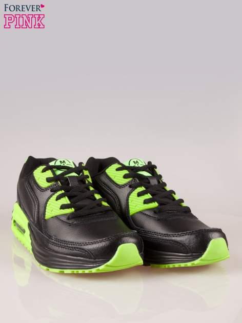 Czarno-limonkowe buty sportowe faux leather Power Up z poduszką powietrzną w podeszwie                                  zdj.                                  2
