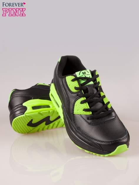 Czarno-limonkowe buty sportowe faux leather Power Up z poduszką powietrzną w podeszwie                                  zdj.                                  4