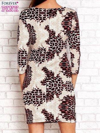 Czarno-różowa sukienka w geometryczne wzory                                  zdj.                                  2