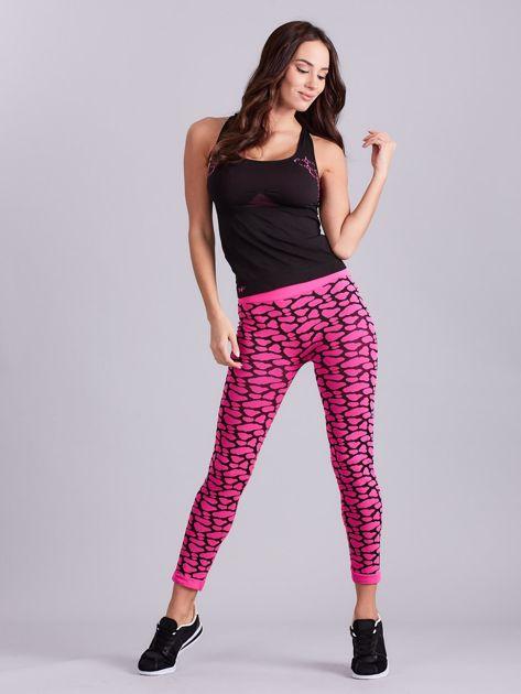 Czarno-różowy komplet fitness top i legginsy                              zdj.                              4