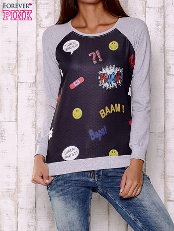 Czarno-szara bluza z komiksowymi motywami                                  zdj.                                  1