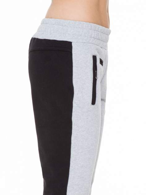 Czarno-szare spodnie dresowe two tone z kieszeniami                                  zdj.                                  6