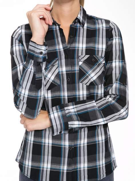 Czarno-turkusowa koszula w kratę z kieszeniami                                  zdj.                                  8