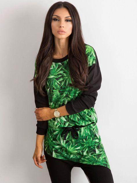 Czarno-zielona bluza z nadrukiem BY O LA LA                               zdj.                              1