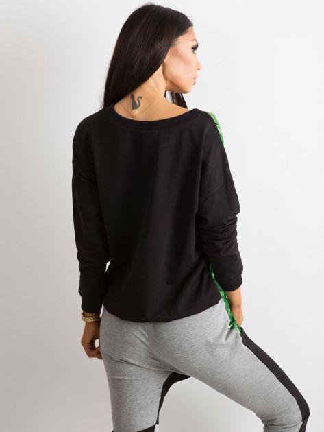 Czarno-zielona bluza z nadrukiem BY O LA LA                               zdj.                              2
