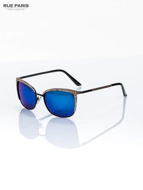 Czarno-złote klasyczne damskie okulary przeciwsłoneczne lustrzanki                                  zdj.                                  4