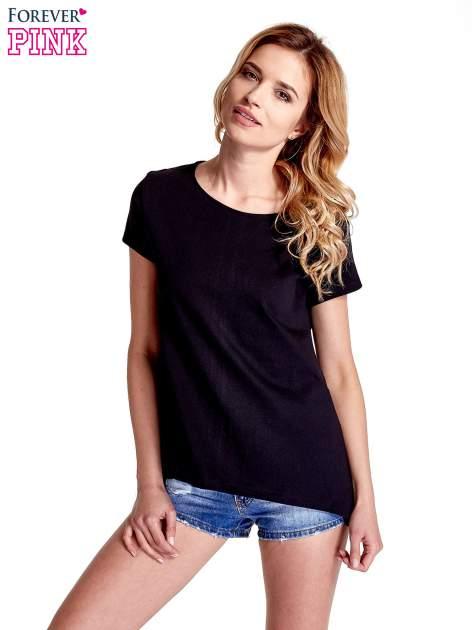 Czarny asymetryczny t-shirt
