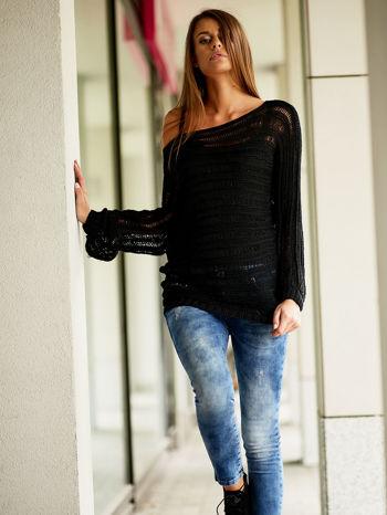 Czarny ażurowy sweter z dekoltem w łódkę FUNK N SOUL                                  zdj.                                  6