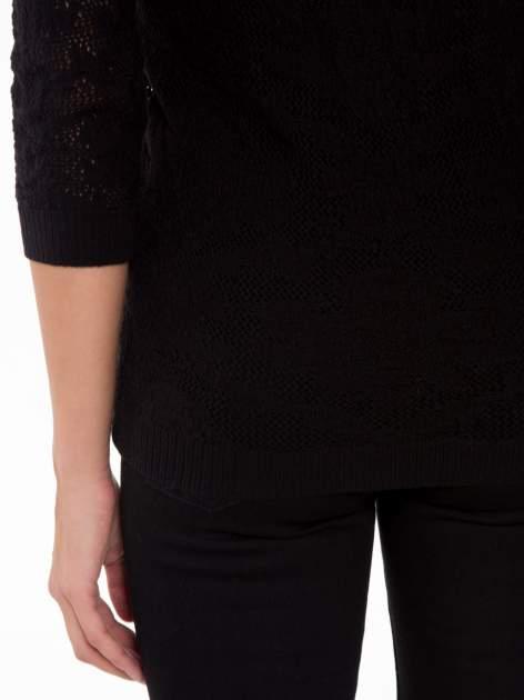 Czarny ażurowy sweter z rękawami 3/4                                  zdj.                                  8