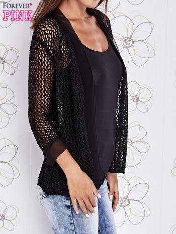 Czarny ażurowy sweter z tiulowym wykończeniem rękawów                                  zdj.                                  3