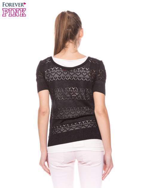 Czarny ażurowy sweterek w stylu retro                                  zdj.                                  4