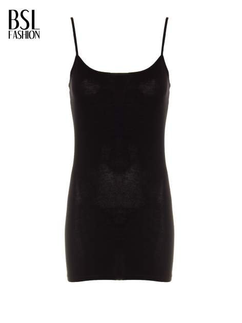 Czarny basicowy top na cienkich ramiączkach                                  zdj.                                  2