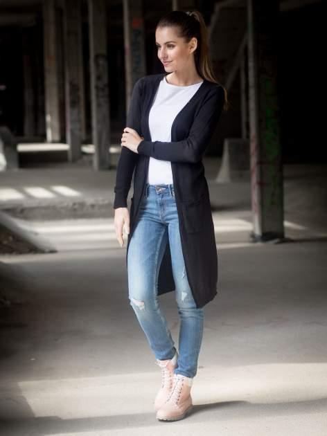 Czarny długi gładki sweter kardigan z kieszeniami                                  zdj.                                  11
