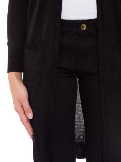 Czarny długi gładki sweter kardigan z kieszeniami                                  zdj.                                  6
