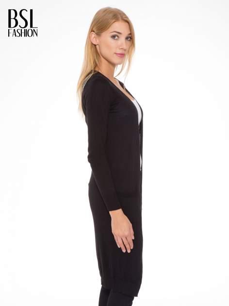 Czarny długi gładki sweter kardigan z kieszeniami                                  zdj.                                  2