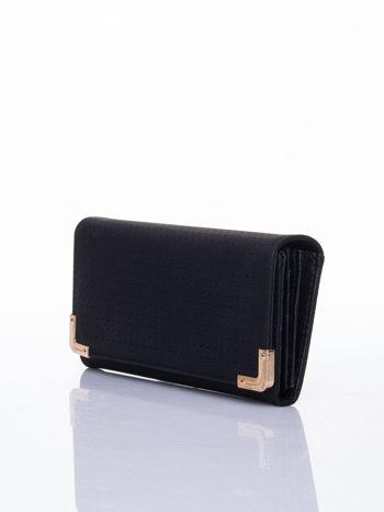 Czarny dziurkowany portfel ze złotym wykończeniem                                  zdj.                                  3