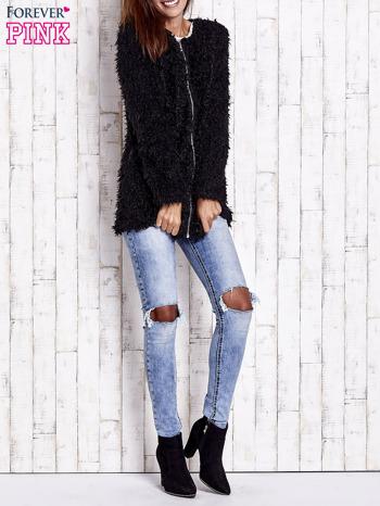 Czarny futrzany sweter kurtka na suwak                                  zdj.                                  10