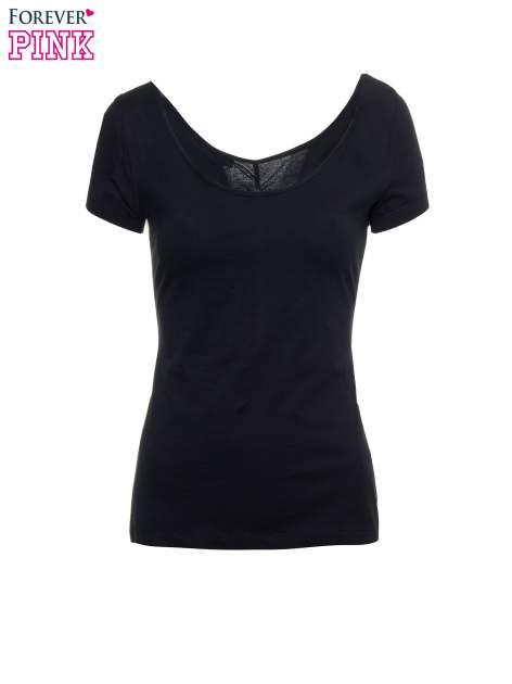 Czarny gładki t-shirt z marszczeniem z tyłu                                  zdj.                                  2