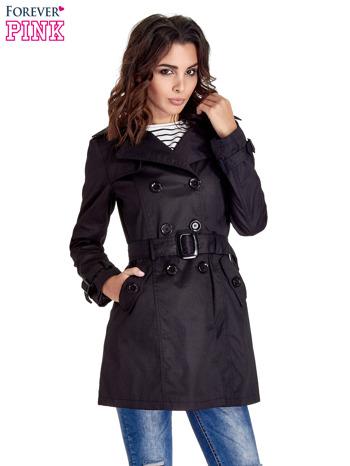 Czarny klasyczny płaszcz typu trencz                                  zdj.                                  1