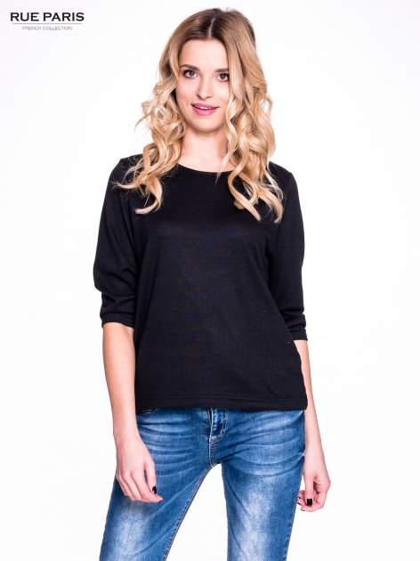 Czarny klasyczny sweterek z luźnym rękawkiem 3/4                                  zdj.                                  1