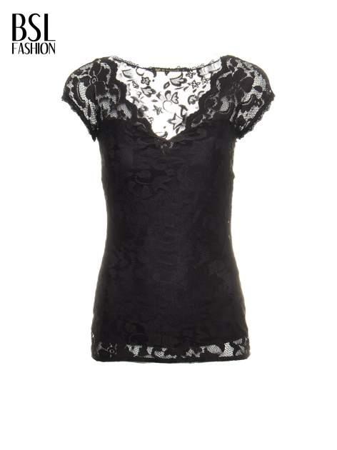Czarny koronkowy t-shirt z głębokim dekoltem                                  zdj.                                  2