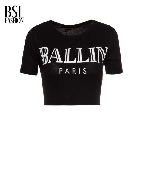 Czarny krótki t-shirt przed pępek z napisem BALLIN PARIS                                  zdj.                                  2