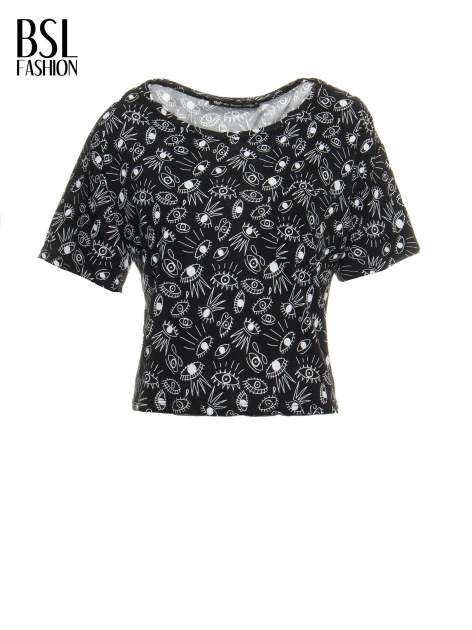 Czarny luźny krótki t-shirt z kieszonką w nadruk oczu                                  zdj.                                  2