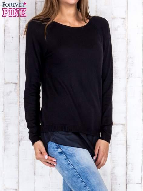 Czarny luźny sweter z siateczką i wycięciem z tyłu                                  zdj.                                  3