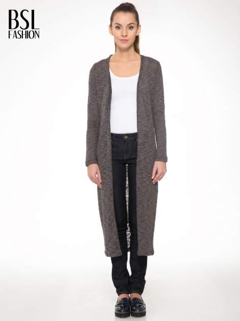 Czarny melanżowy sweter typu długi kardigan