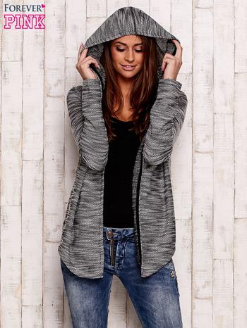 Czarny melanżowy sweter z kapturem                                  zdj.                                  5