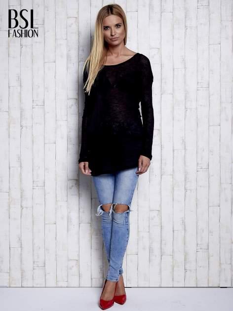 Czarny melanżowy sweter z łezką na plecach                                  zdj.                                  2