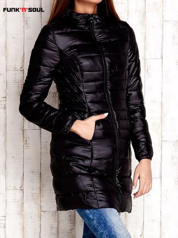 Czarny pikowany płaszcz z kapturem FUNK N SOUL                                  zdj.                                  4