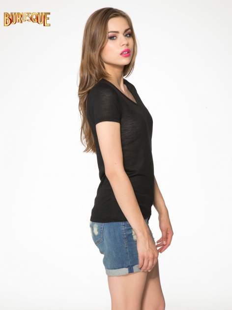 Czarny półtransparentny t-shirt basic                                  zdj.                                  3