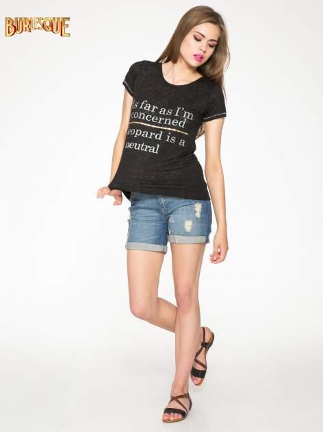 Czarny półtransparentny t-shirt z napisem                                  zdj.                                  2