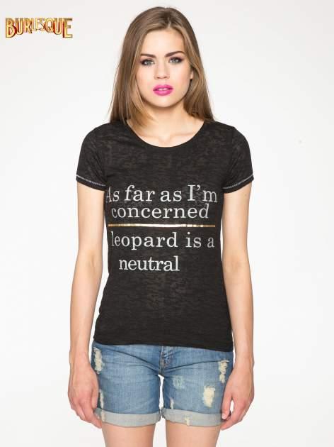 Czarny półtransparentny t-shirt z napisem                                  zdj.                                  12