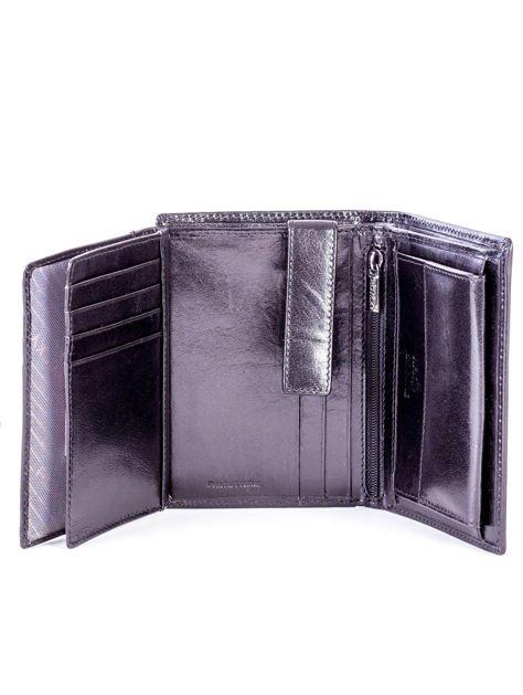 Czarny portfel męski skórzany z tłoczeniem                              zdj.                              5