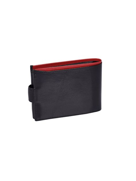 Czarny portfel skórzany męski z czerwonym wykończeniem                              zdj.                              3