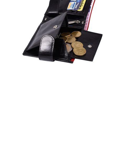 Czarny portfel skórzany męski z czerwonym wykończeniem                              zdj.                              7